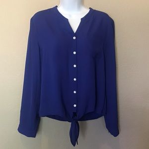Chico's blue button down tie blouse top Sz 1 Med/8